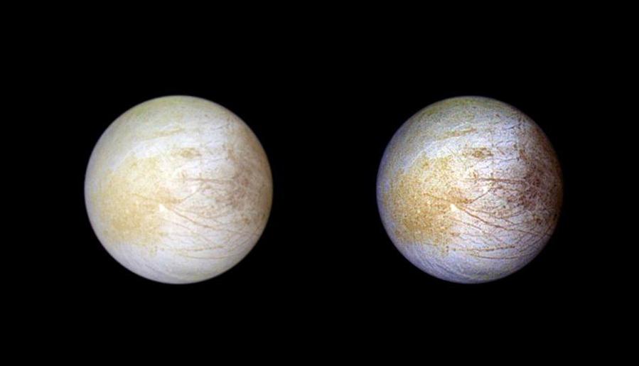 O amarelo na superfície de Europa é causado pela presenta de cloreto de sódio.