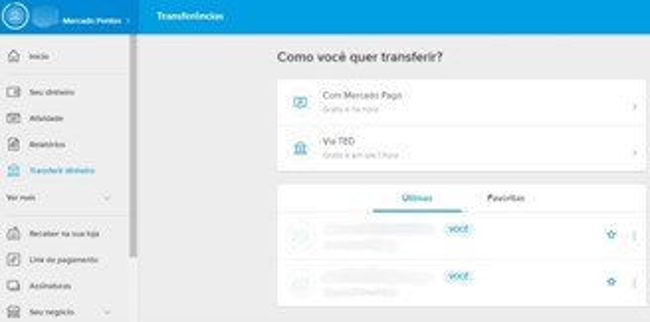 Transferência pelo Mercado Pago.
