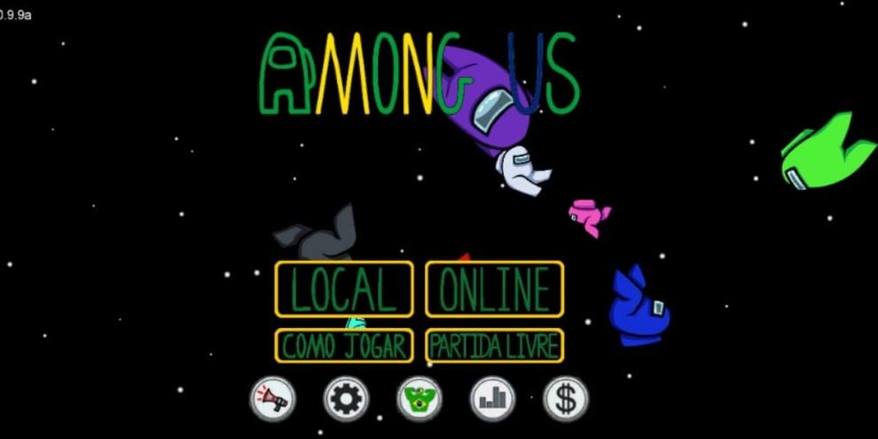 tela inicial de among us brasil apk
