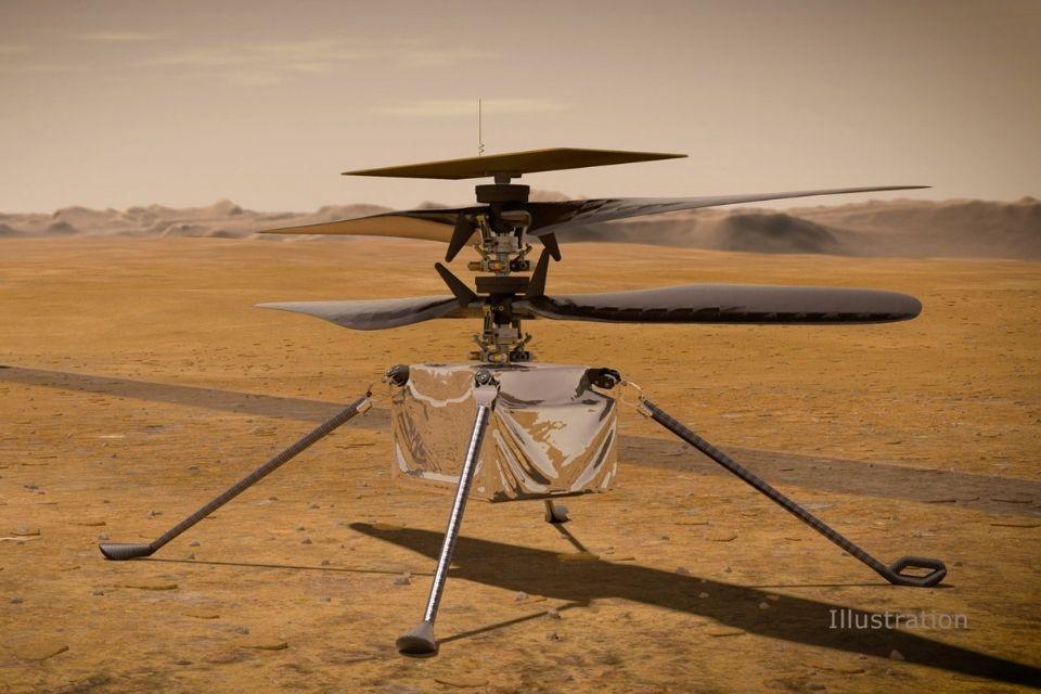 O Ingenuity Mars Helicopter da NASA na superfície do Planeta Vermelho.