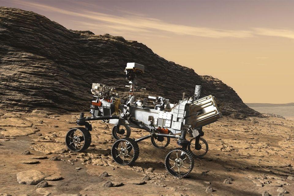 Perseverance sobe um afloramento: sinais de vida antiga em Marte poderão ser preservados em camadas de rochas como as mostradas nesta ilustração.