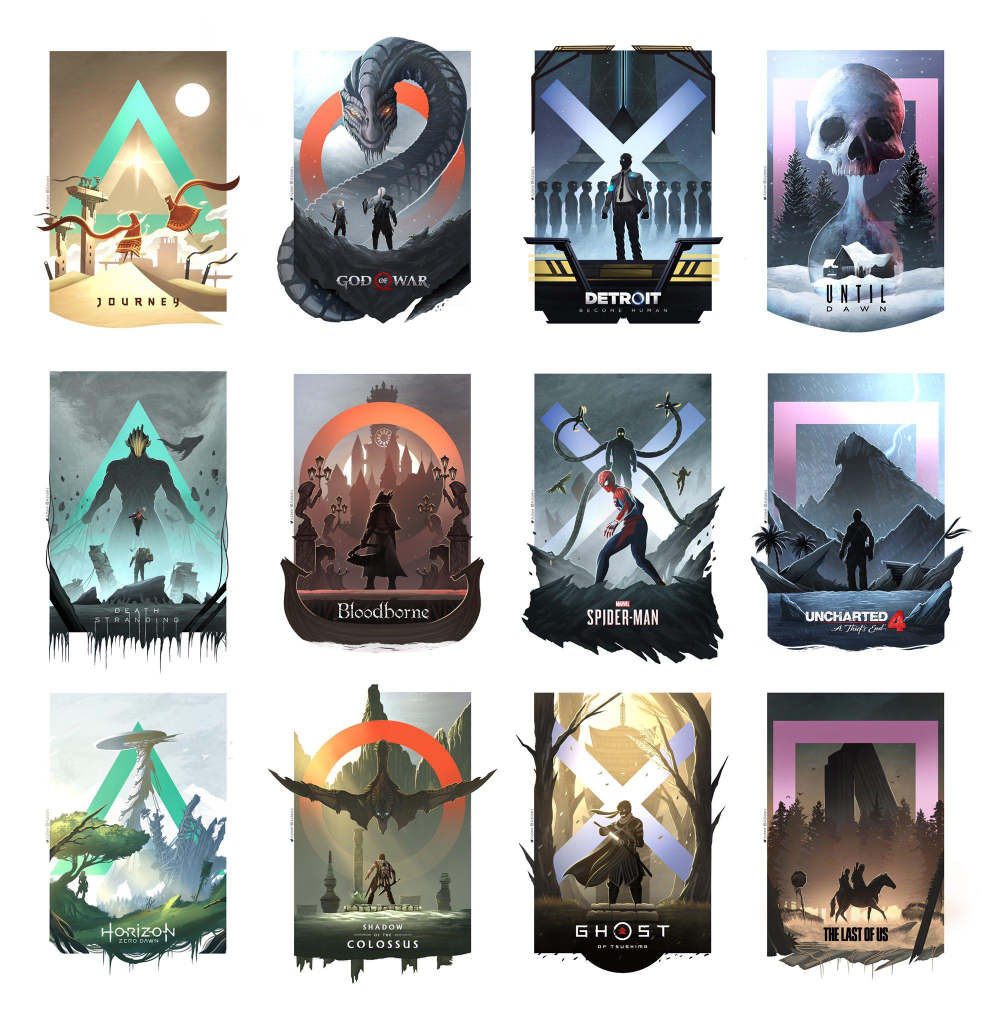 Os principais jogos do PS4 reunidos na arte de Syed