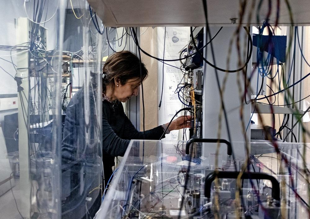 Physicist Saïda Guellati-Khélifa works in her laboratory in Paris.