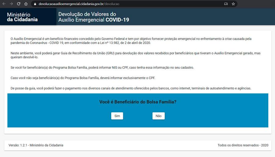 Os brasileiros notificados devem entrar no site do Ministério da Cidadania para gerar uma Guia de Recolhimento da União (GRU)