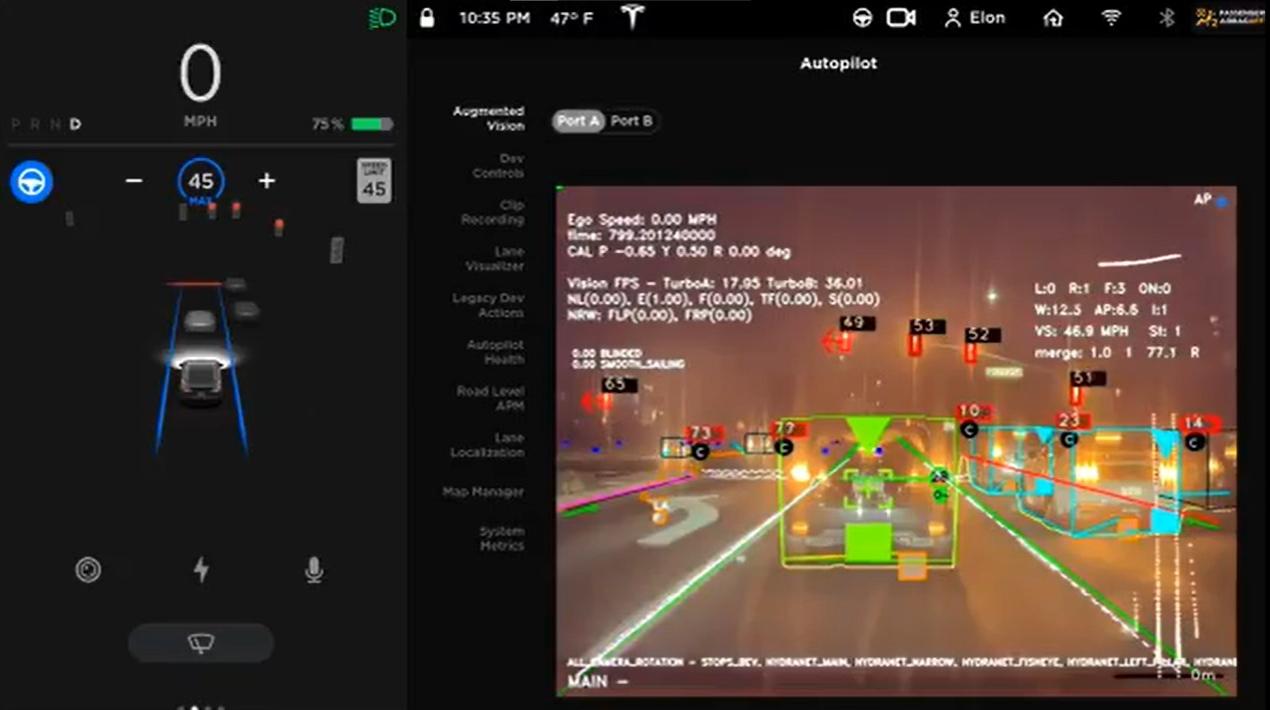 Modo descoberto por hacker mostra todos os detalhes detectados pelas câmeras do piloto automático.