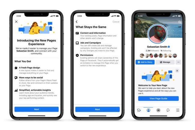 O novo design das páginas do Facebook será lançado em breve.