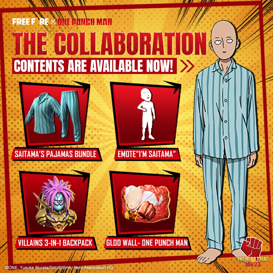 O crossover incluirá diversos itens cosméticos inspirados em One Punch Man
