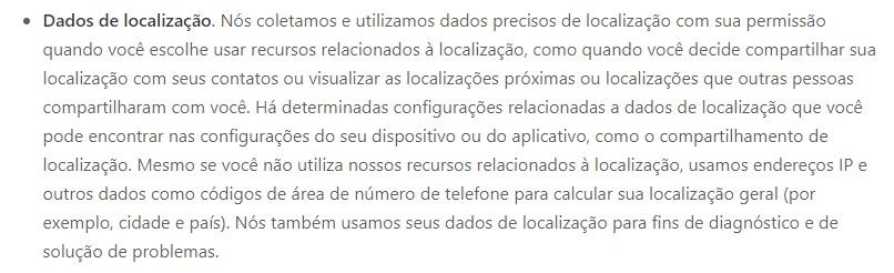 """O WhatsApp pede a permissão do usuário antes, mas coleta """"dados precisos de localização""""."""