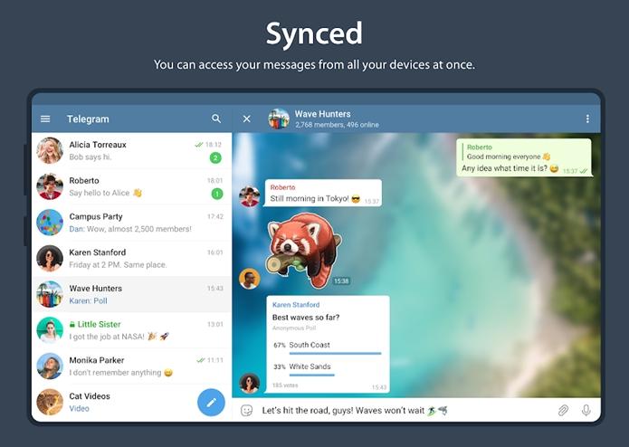 Telegram sincroniza seus dados em nuvem.