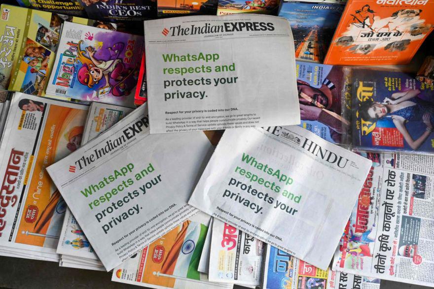 WhatsApp faz uma cara campanha de publicidade para acalmar seus clientes Fonte: AFP/Reprodução)