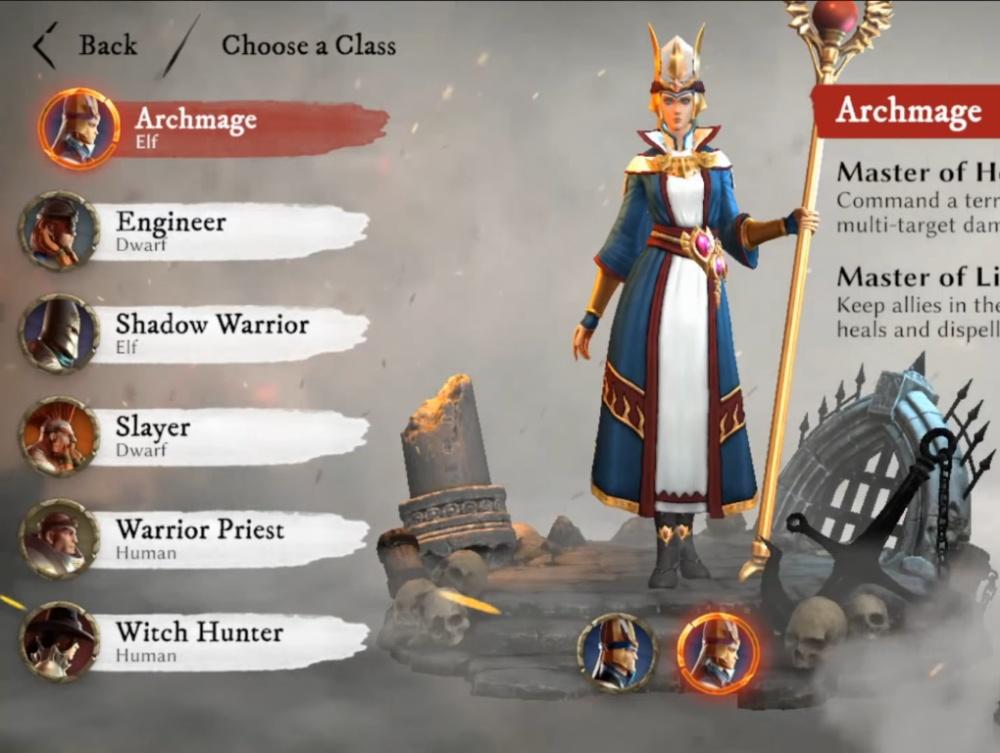 você escolhe a classe do seu personagem