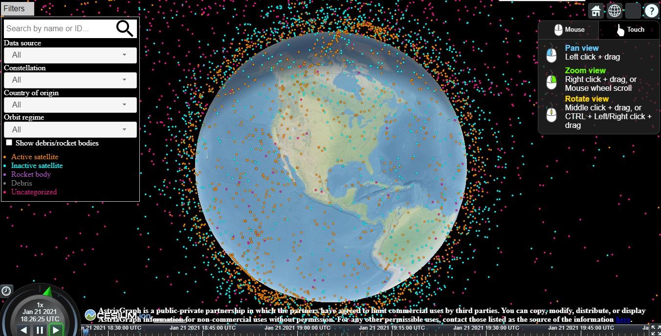 Plataforma AstriaGraph revela posições de objetos espaciais na órbita da Terra