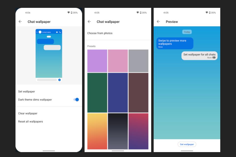 Novas opções de customização do Signal. (Fonte: Signal via Android Police / Reprodução)