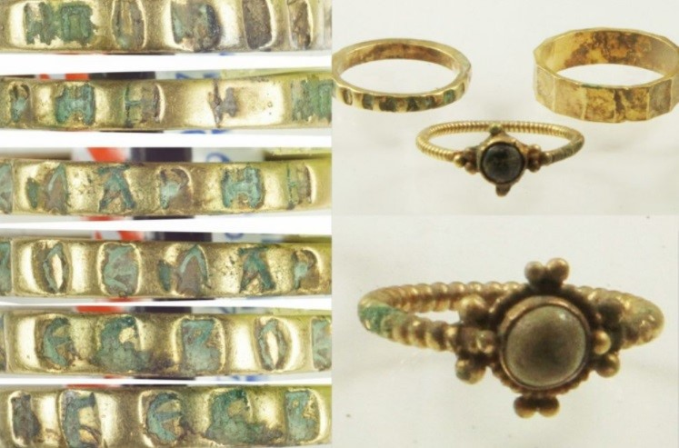 Até anéis de ouro estavam no tesouro enterrado.