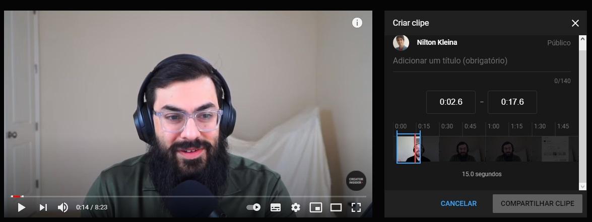 A tela de configuração do clipe.