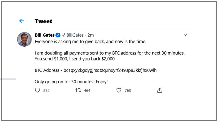 No Tweet acima, hackers se passam por Bill Gates e solicitam o pagamento em bitcoins de US$ 1 mil sob a promessa de devolver o dobro.