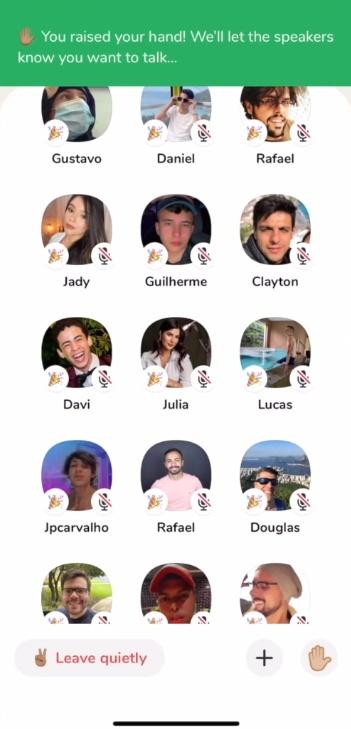tela do aplicativo mostrando os memros da sala