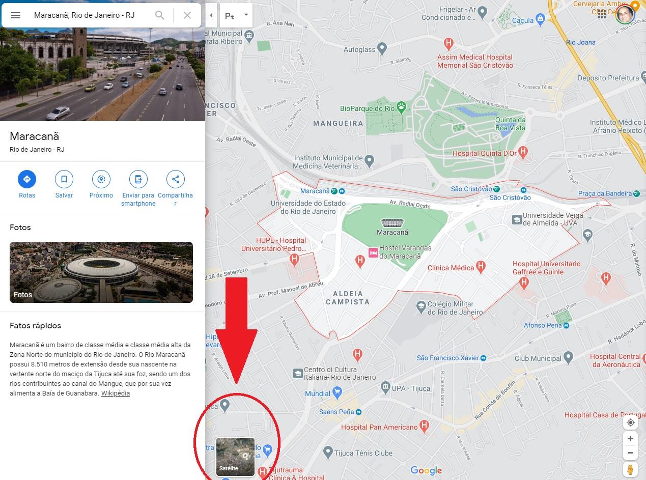 Click on the square icon written Satellite