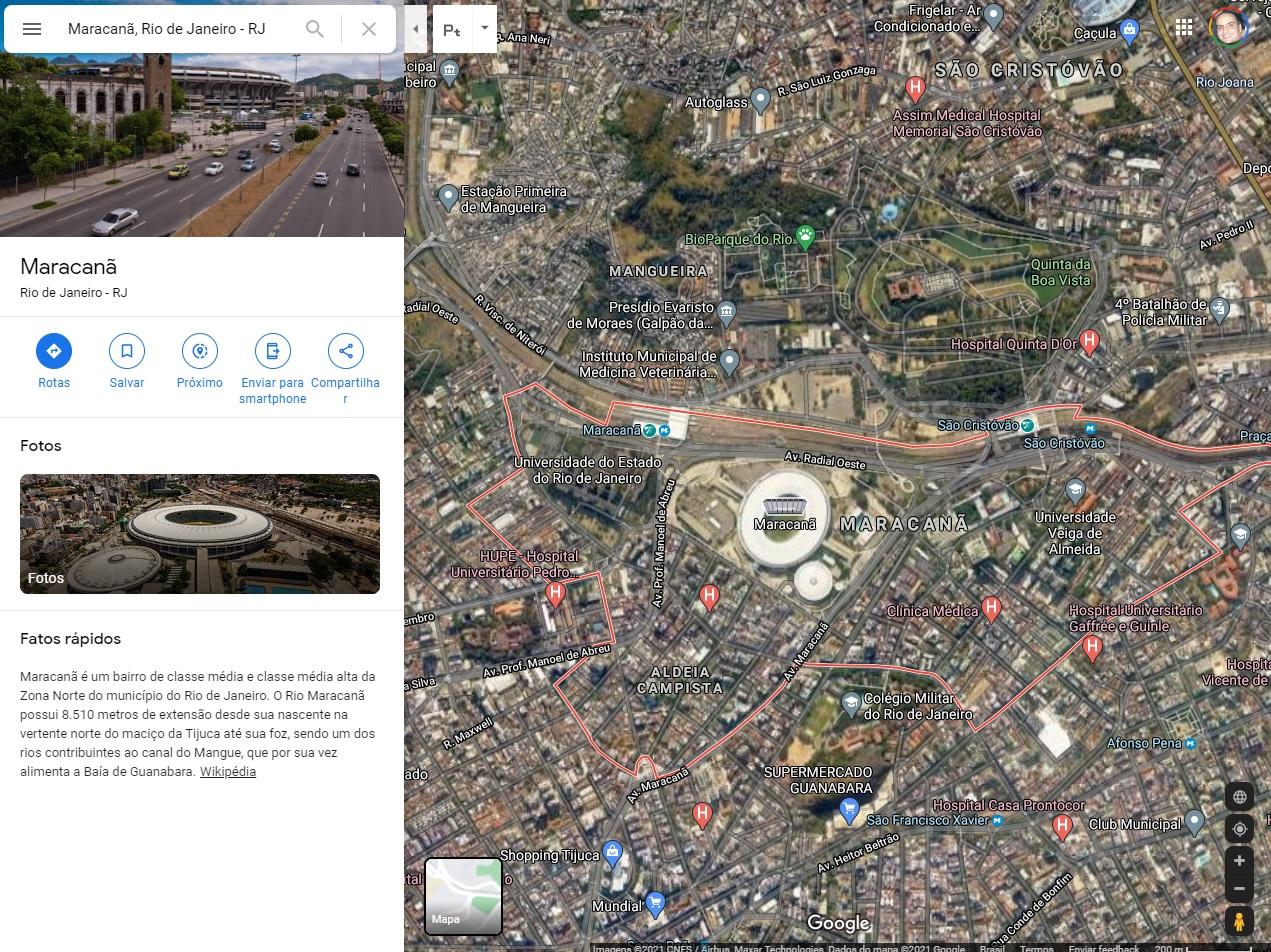 Modo Satélite mostra em detalhes a região buscada no Google Maps