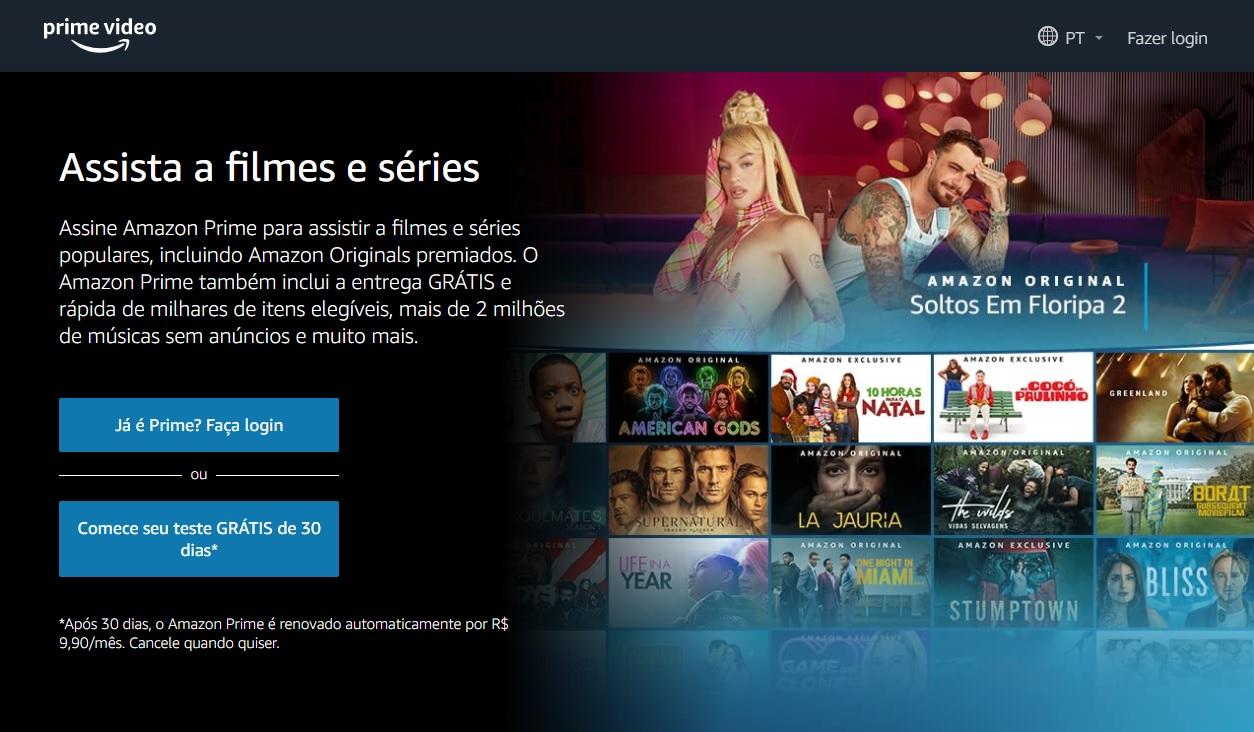 O Amazon Prime Video pode ser pago por mês ou por ano, com 25% de desconto na modalidade anual.