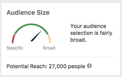A ferramenta de alcance potencial é mostrada para os anunciantes ao criar uma campanha.