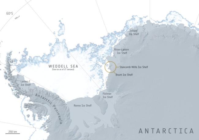 Localização da plataforma de gelo de Brunt.