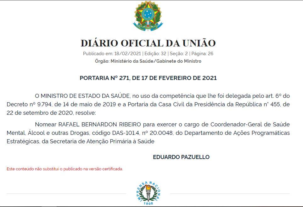 Nomeação causou desconforto em setores ligados à reforma psiquiátrica brasileira. (Fonte: DOU/reprodução)