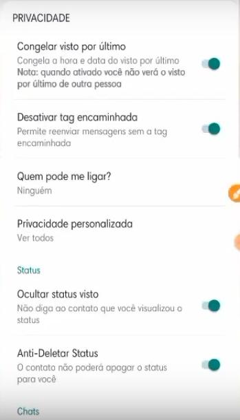 opções extras de fmwhatsapp disponíveis ao usuário