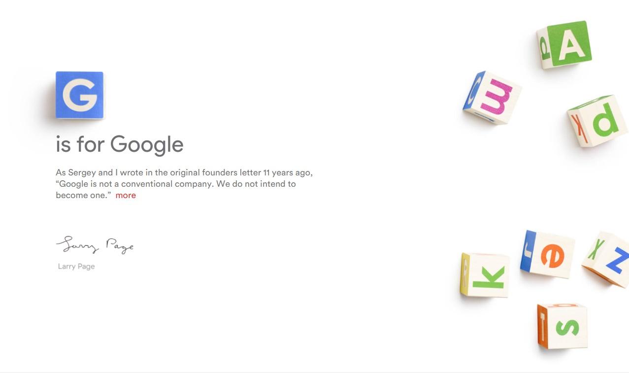 Até o site da Alphabet é bastante minimalista.