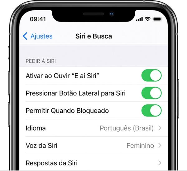 """Oi Siri? Caso não haja resposta, verifique se ela está ativada, no menu """"Ajustes""""."""