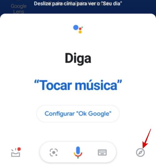 """Ícone """"Explorar"""" em destaque, para configurar o assistente da Google."""