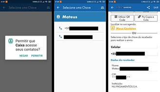 To use the contacts option, you need to give permissions to the Caixa app on Android