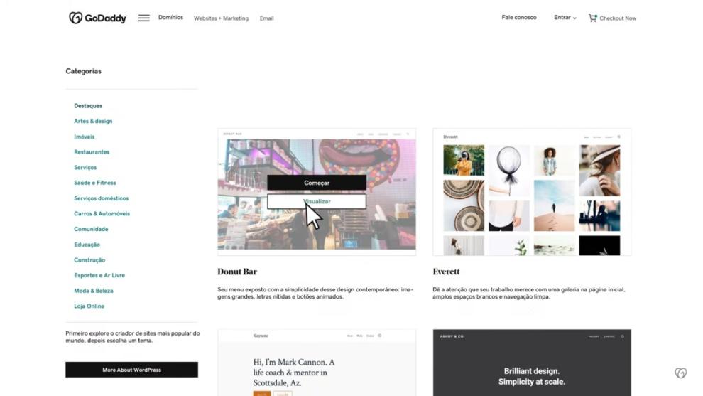 Tela da hospedagem WordPress GoDaddy
