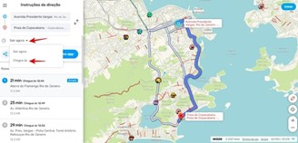 It is possible to plan routes for several other times.