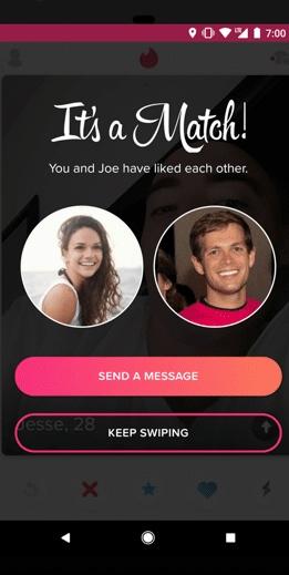 Imagem do match entre dois perfis do Tinder