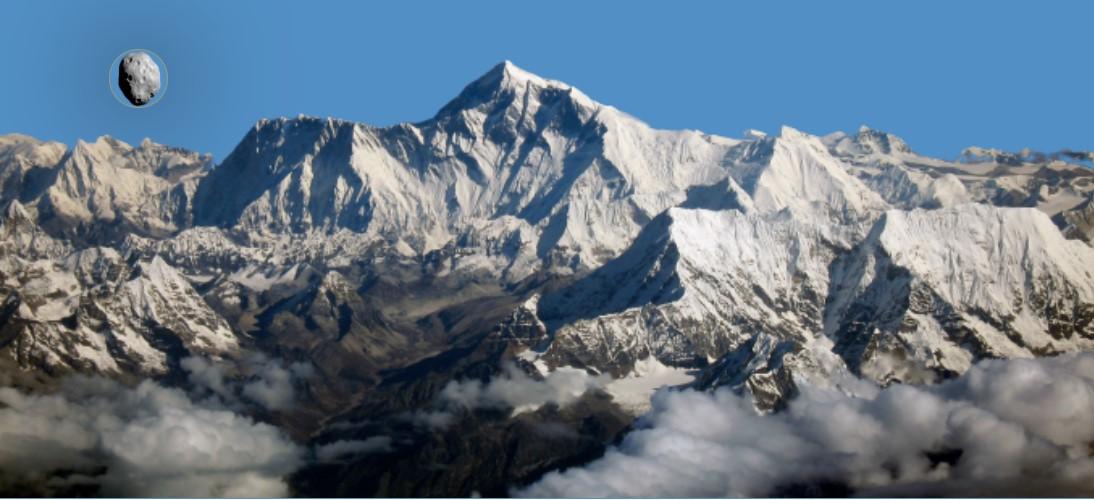Asteroide 231937 em comparação ao Monte Everest.