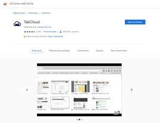 The TabCloud extension allows you to transfer an open session in Google Chrome to another PC