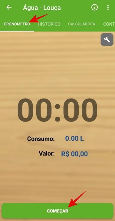 Cronometre o tempo de uso da água.