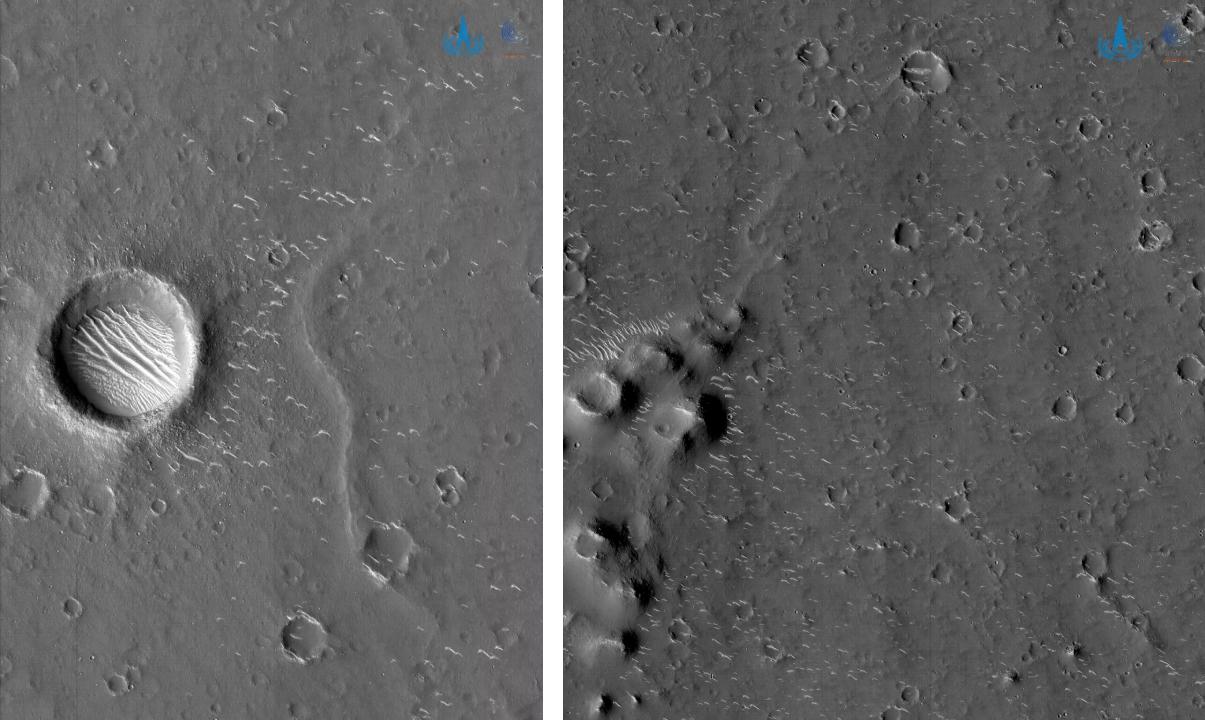 As imagens em preto e branco foram obtidas quando a sonda estava a cerca de 330 quilômetros da superfície de Marte.