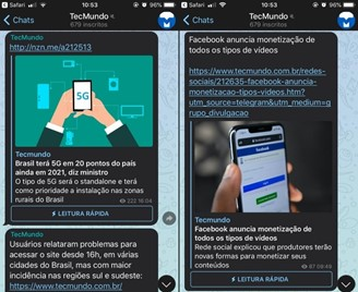 The TecMundo channel is an example of a public channel, through which you have access to the news published on the website.