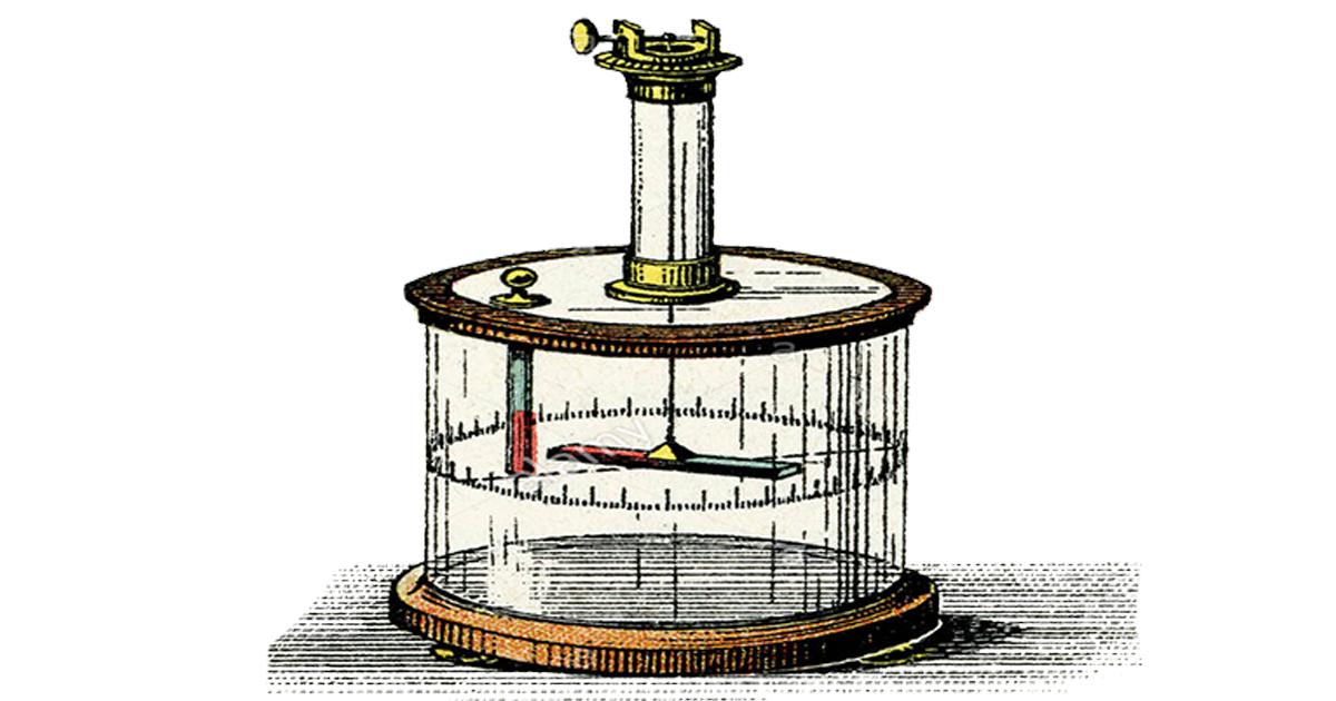 Exemplo de balança de torção, inventada em 1798.