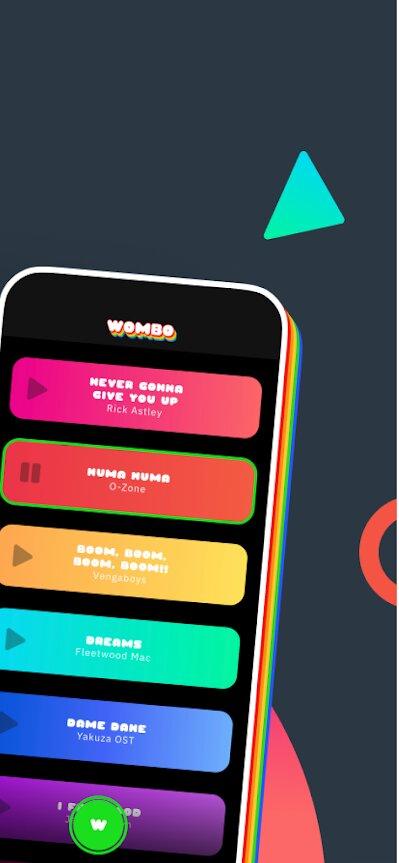Layout do aplicativo Wombo