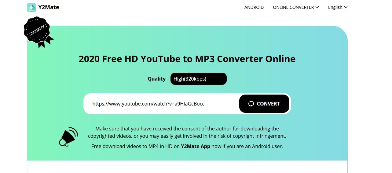 Y2mate com link para convesão