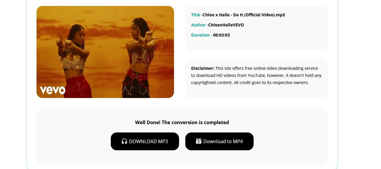 Opção de conversão do YouTube vídeo mp3 ou mp4