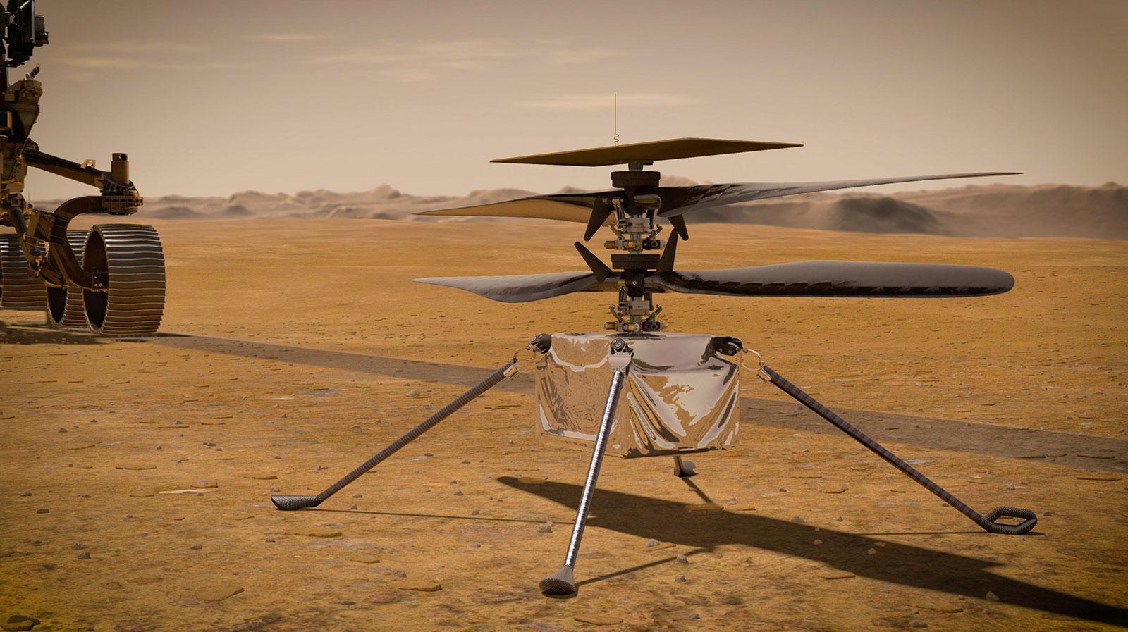 Perseverance deve lançar o pequeno helicóptero Ingenuity em breve.