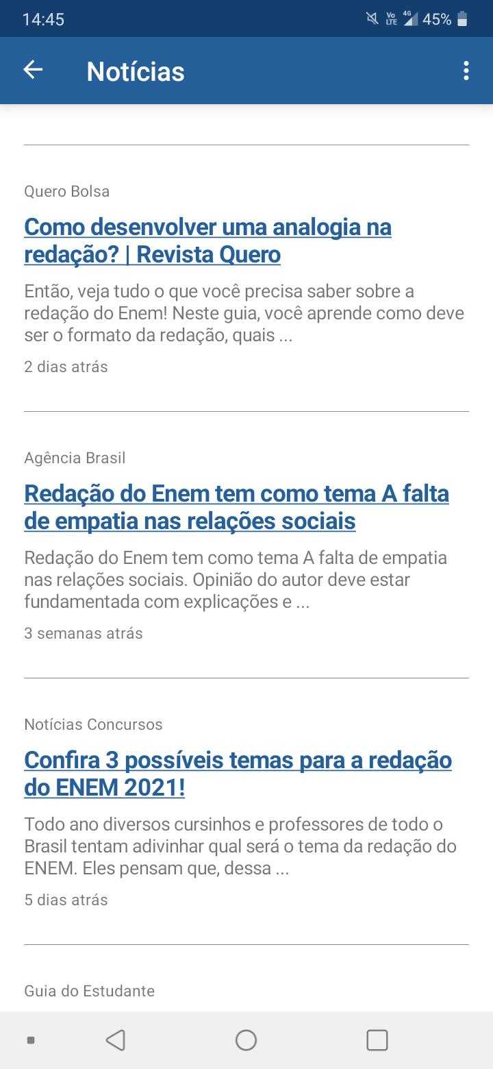 Aba de notícias do app sobre o Enem