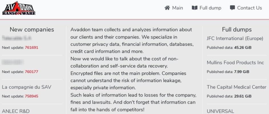 O site do ransomware com os casos registrados.