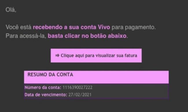 Exemplo de e-mail falso usado no golpe.