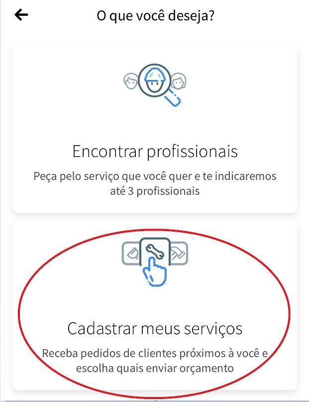 Escolha a opção Cadastrar meus Serviços para procurar pedidos de clientes