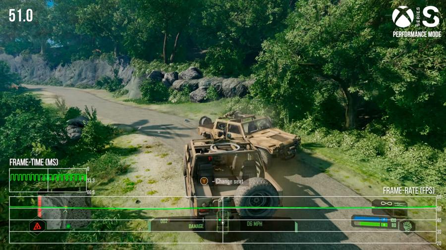 O Xbox Series S mira em 60 quadros por segundo no modo performance.